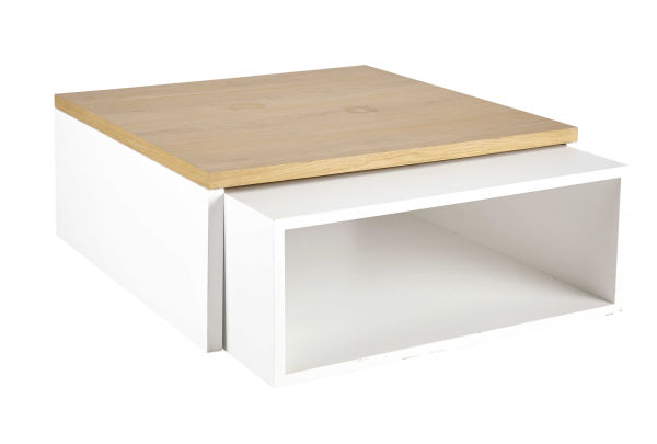 2 tables basses en bois blanches L 100 cm et L 94 cm Austral (photo)