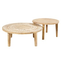 2 tables basses en manguier massif motifs blancs Caraiba