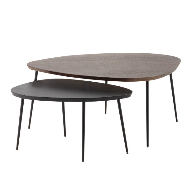2 tables basses gigognes en manguier L 105 cm et L 73 cm Amande (photo)