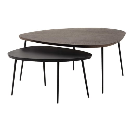 2 tables basses gigognes en manguier l 105 cm et l 73 cm - Table basse en manguier ...