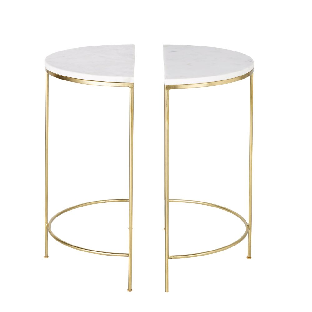 2 tables de chevet en métal doré et marbre blanc Midtown (photo)