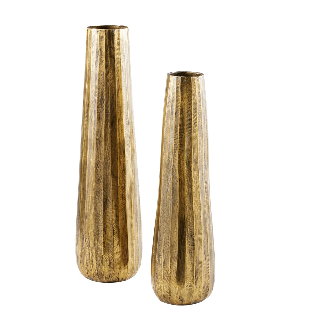 2 vases en métal bronze (photo)