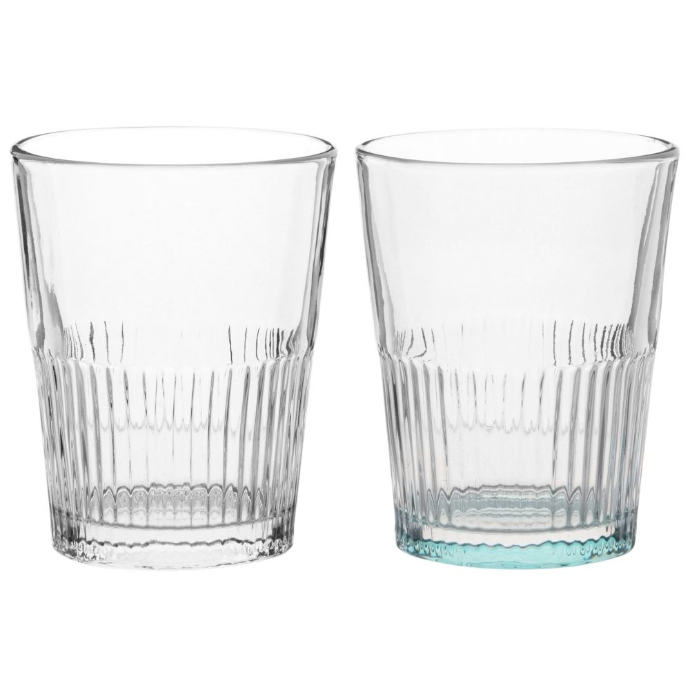 2 verres striés en verre (photo)