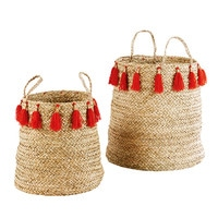 2 Woven Seagrass Baskets with Tassels Lilia