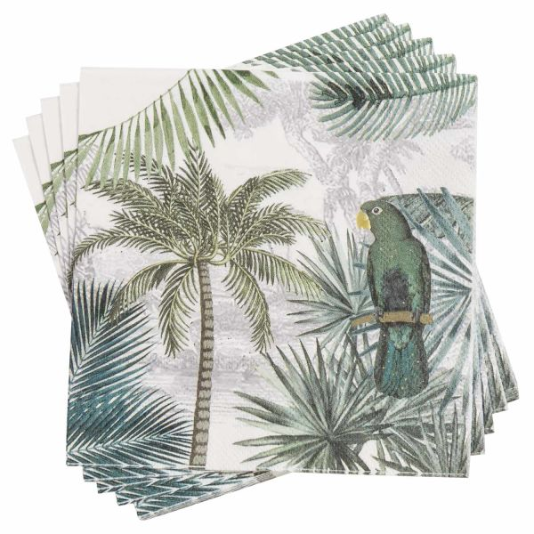 20 serviettes en papier imprimé tropical 33x33 GREEN PERROK (photo)