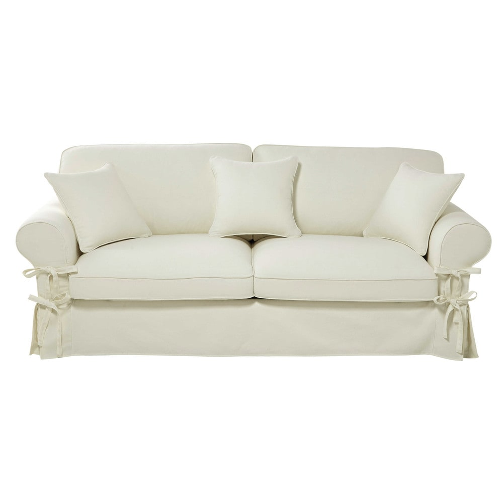 34 seater cotton sofa bed in ivory mattress 12 cm