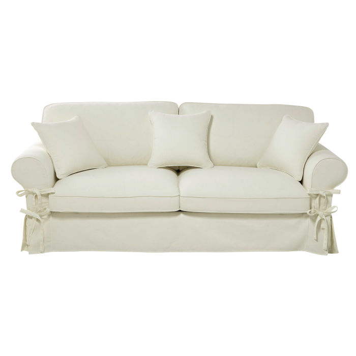 3 4 Seater Cotton Sofa Bed In Ivory Mattress 6 Cm