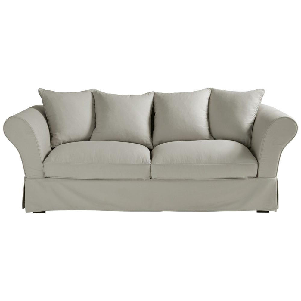 34 seater cotton sofa bed in light grey