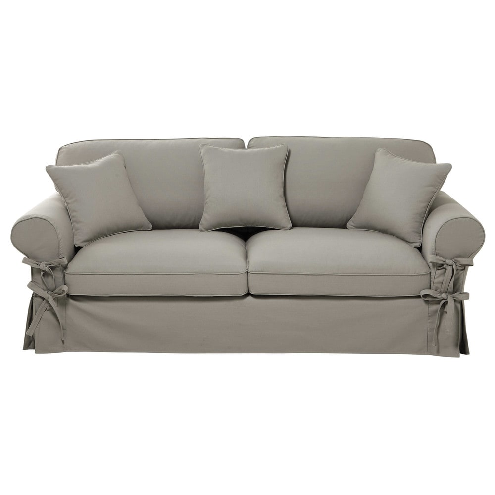 34 seater cotton sofa bed in light grey mattress 12 cm