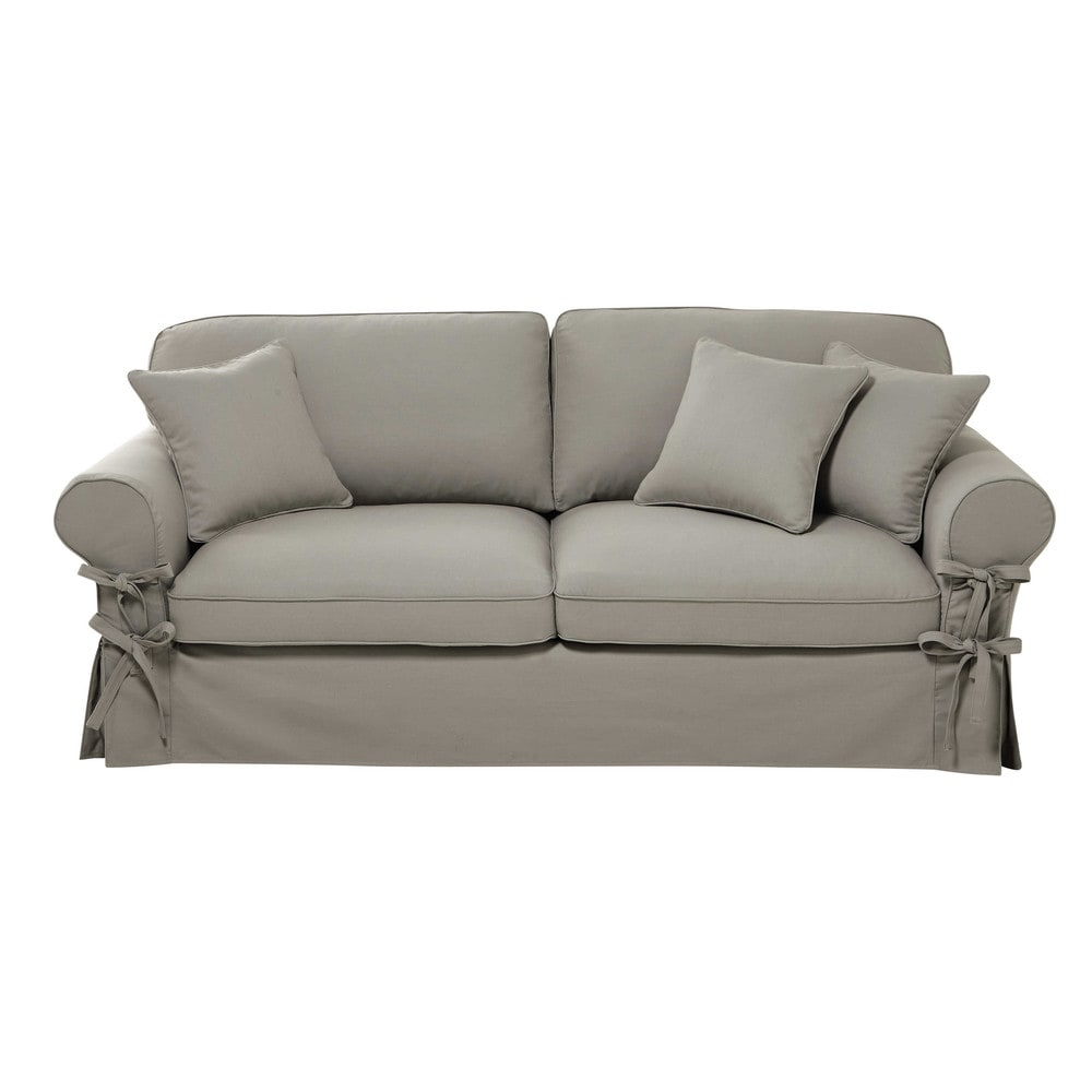 34 seater cotton sofa bed in light grey mattress 6 cm