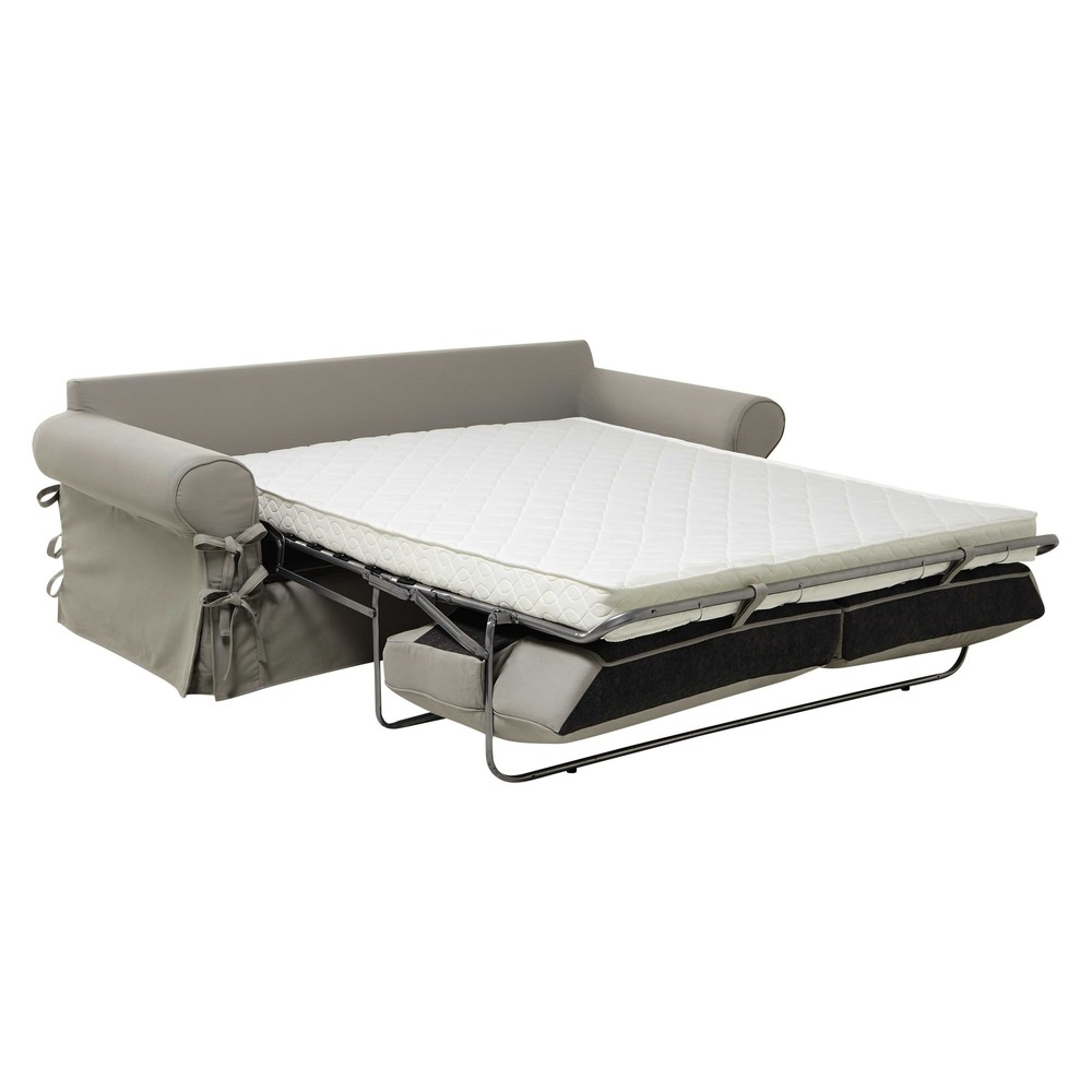 34 seater cotton sofa bed in putty mattress 12 cm