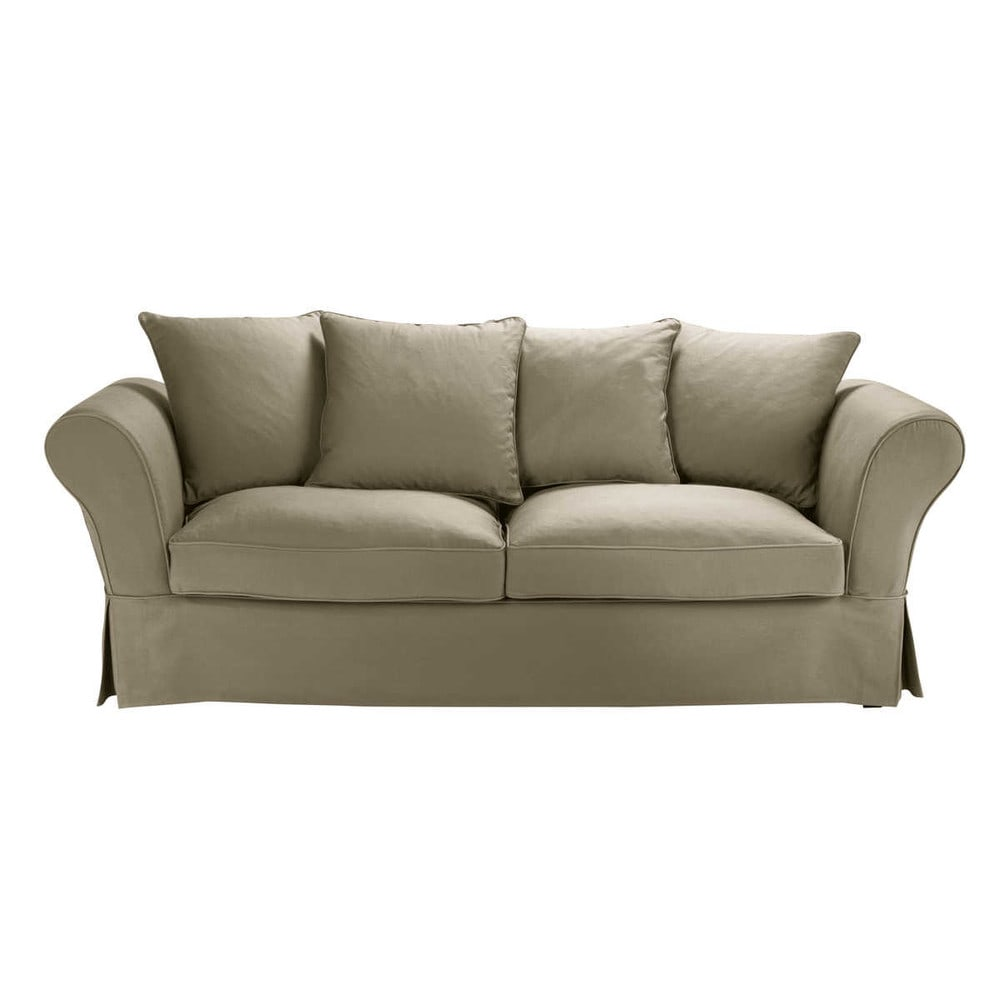 34 seater cotton sofa bed in taupe
