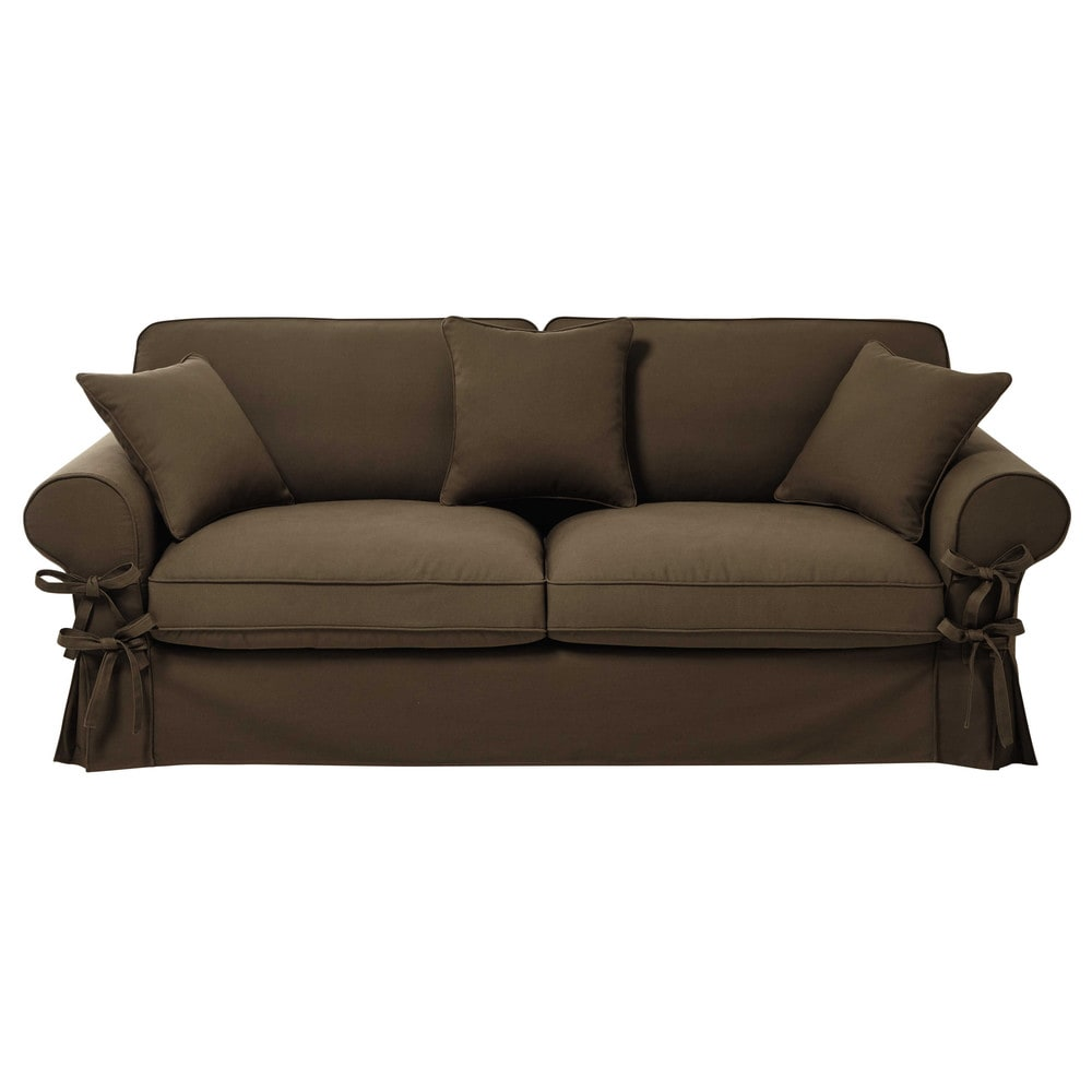 34 seater cotton sofa bed in taupe mattress 12 cm