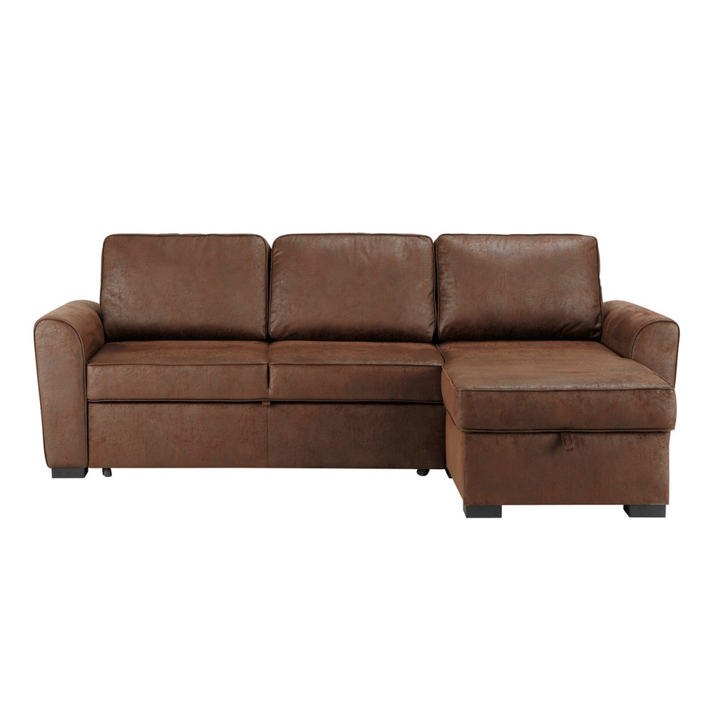 34 seater distressed imitation suede corner sofa bed in brown