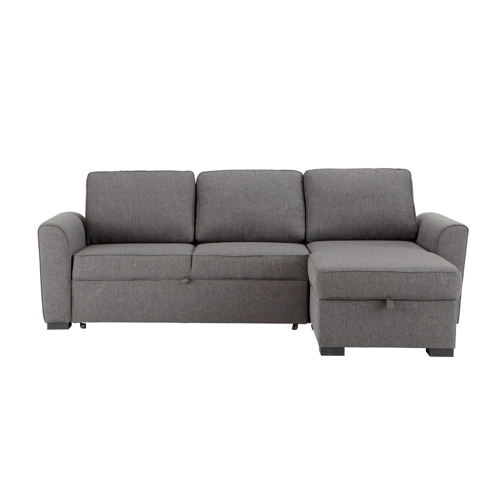 34 seater fabric corner sofa bed in grey