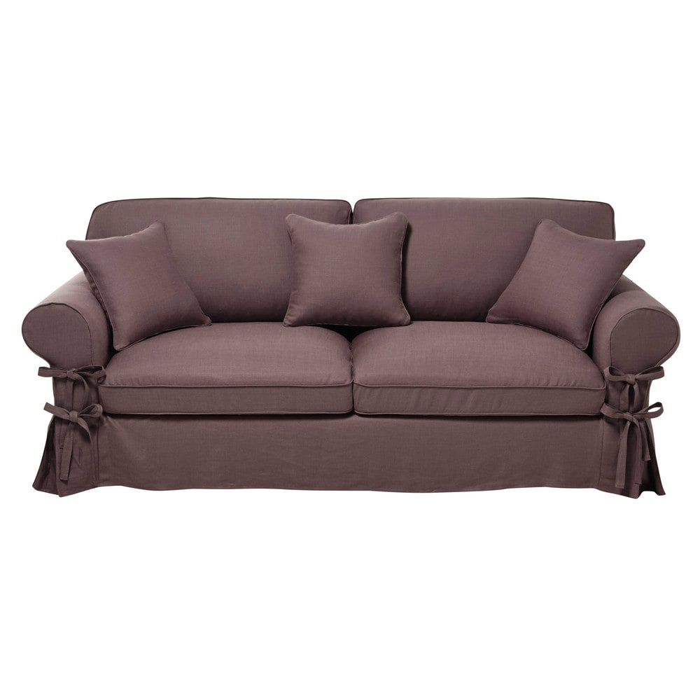 34 seater linen sofa bed in mauve