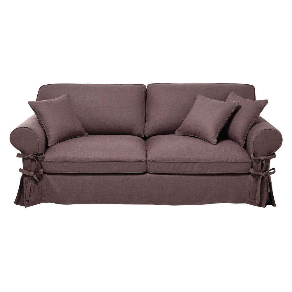 34 seater linen sofa bed in old mauve