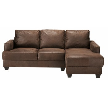 page 1 34 seater microsuede rhf corner sofa in brown