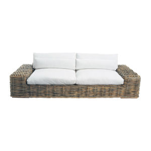 3/4 seater rattan and fabric sofa in ivory