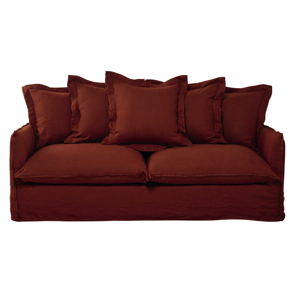 34 seater washed linen sofa bed in brick red