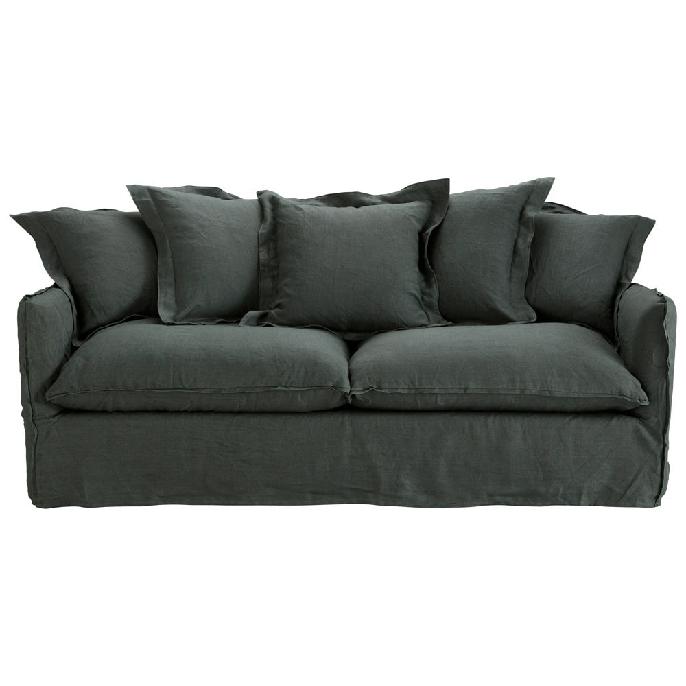 34 seater washed linen sofa bed in charcoal grey