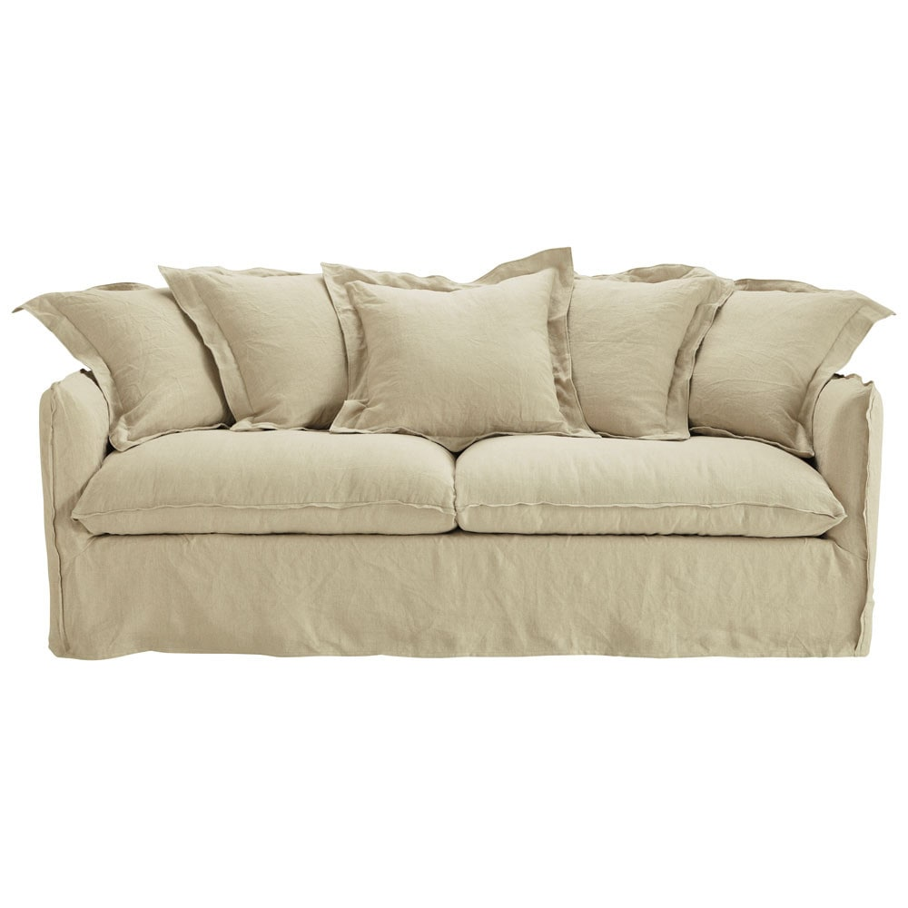 34 seater washed linen sofa bed in ecru