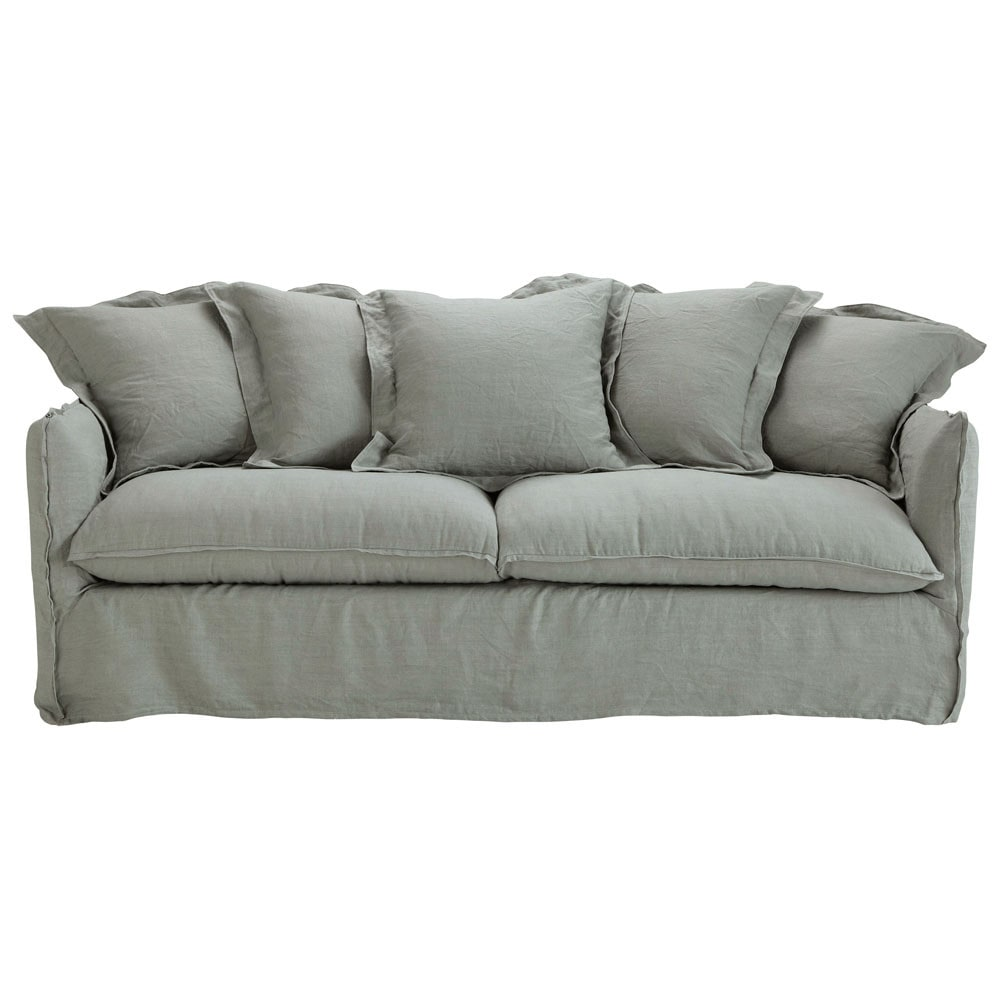 34 seater washed linen sofa bed in light grey