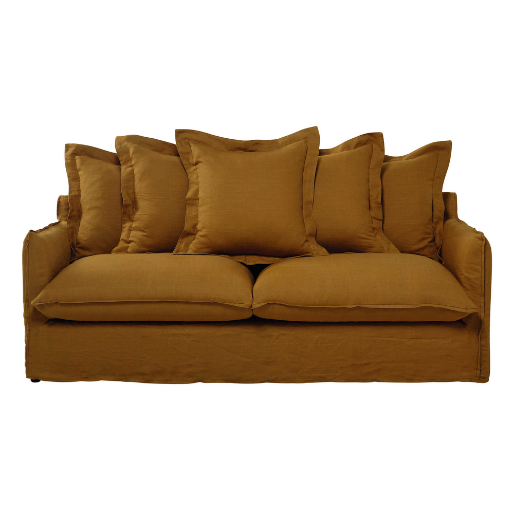 34 seater washed linen sofa bed in mustard yellow