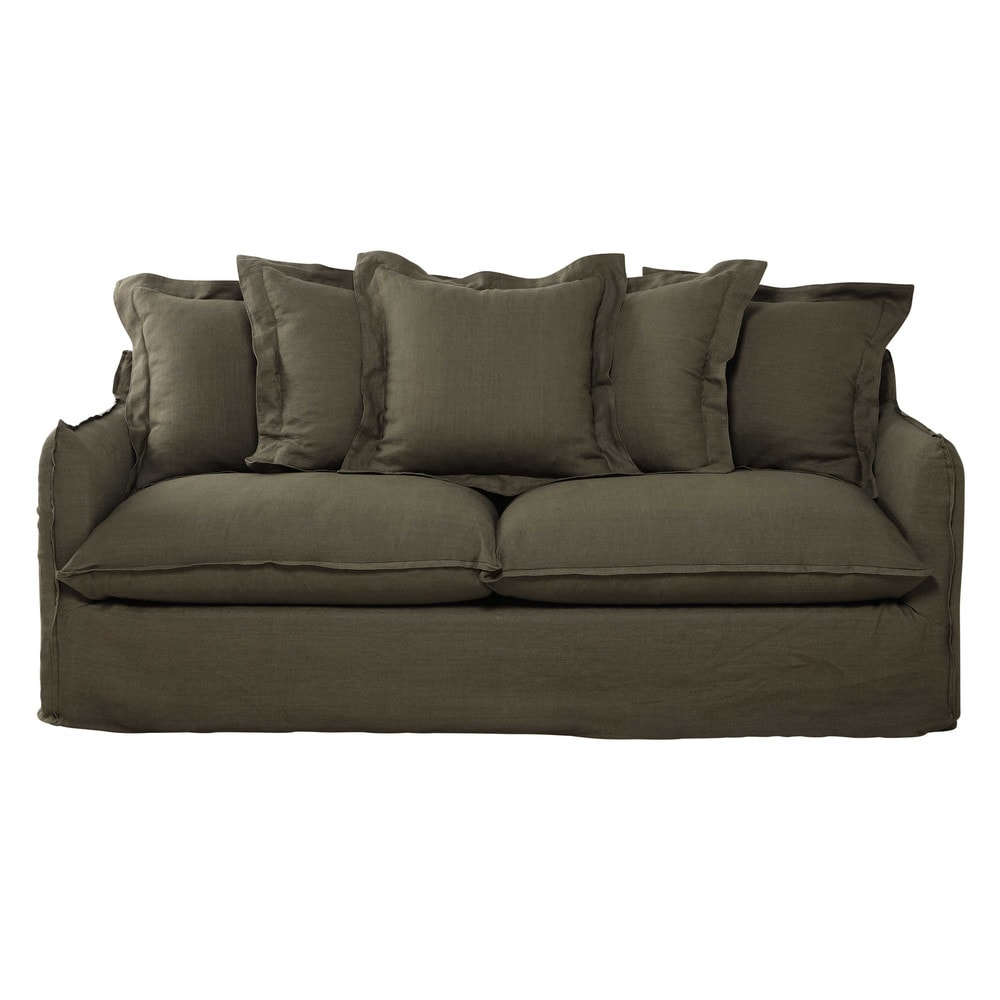 34 seater washed linen sofa bed in olive green