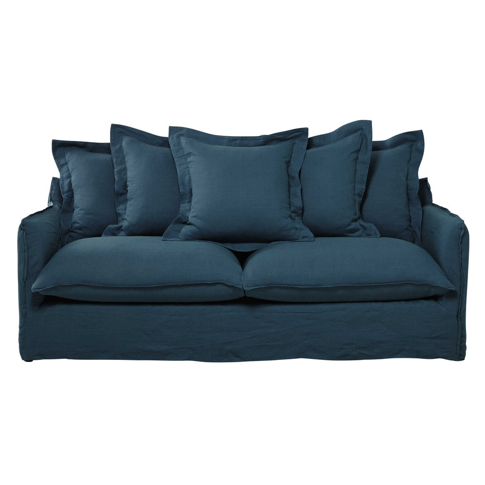 34 seater washed linen sofa bed in peacock blue