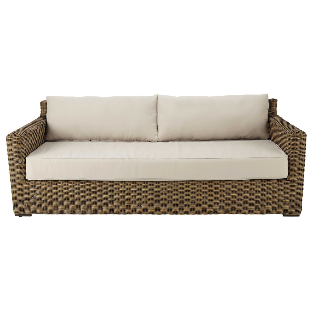 34 seater wicker and fabric garden sofa in beige
