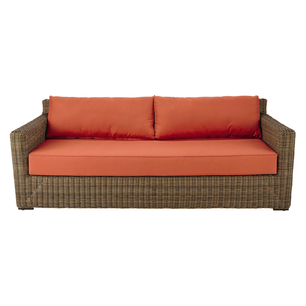 34 seater wicker and fabric garden sofa in brick red