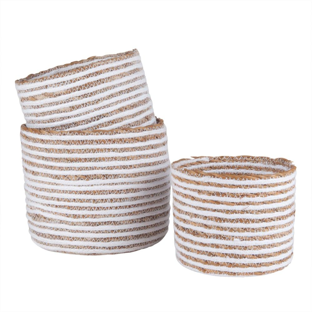 3 cache-pots en corde beige H16 (photo)