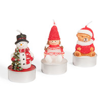 3 Christmas Character Candles