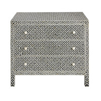 3-drawer chest of drawers in mango wood and bone inlay