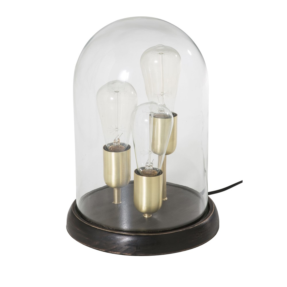 3 lampes sous cloche en verre (photo)
