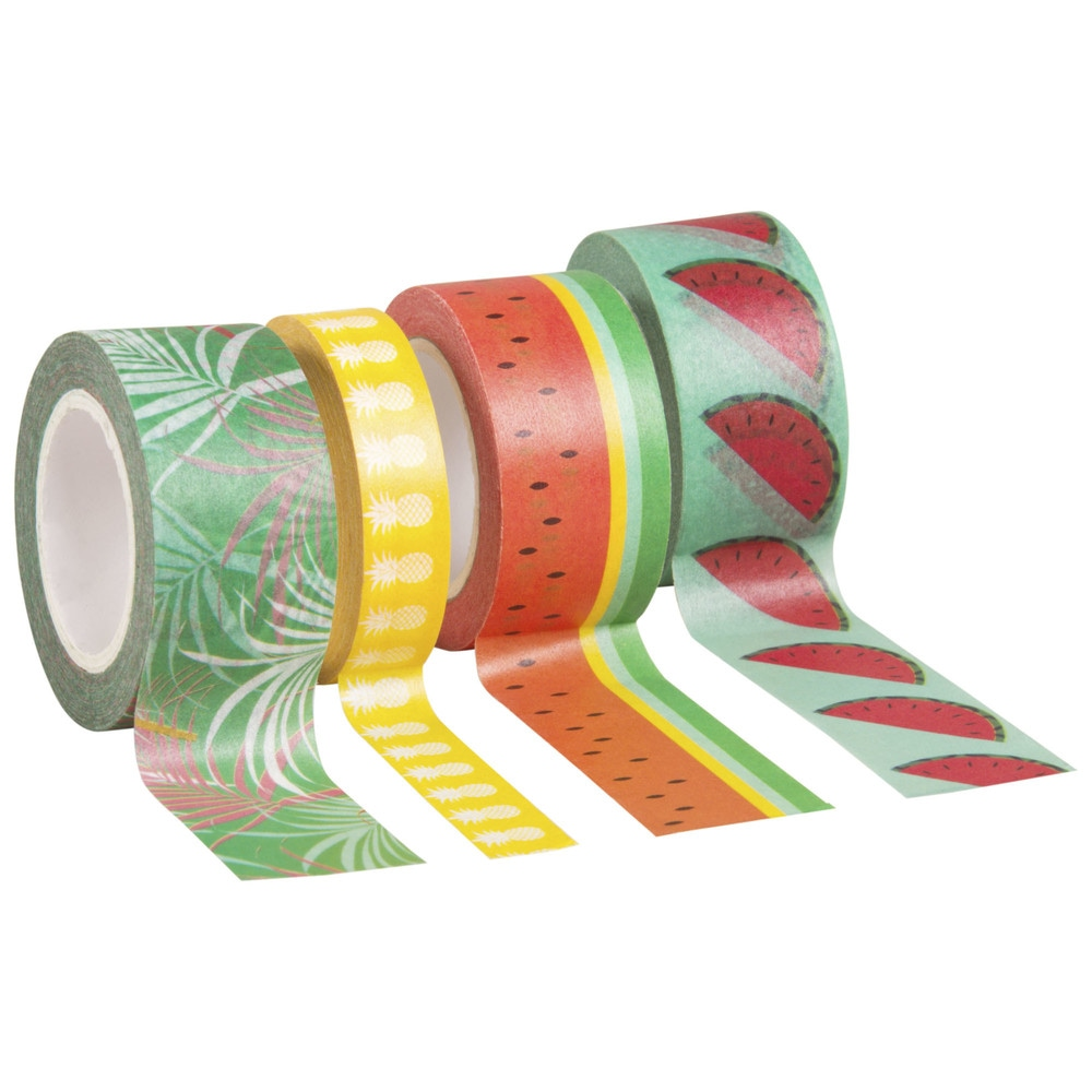 3 rouleaux masking tape imprimés fruits (photo)