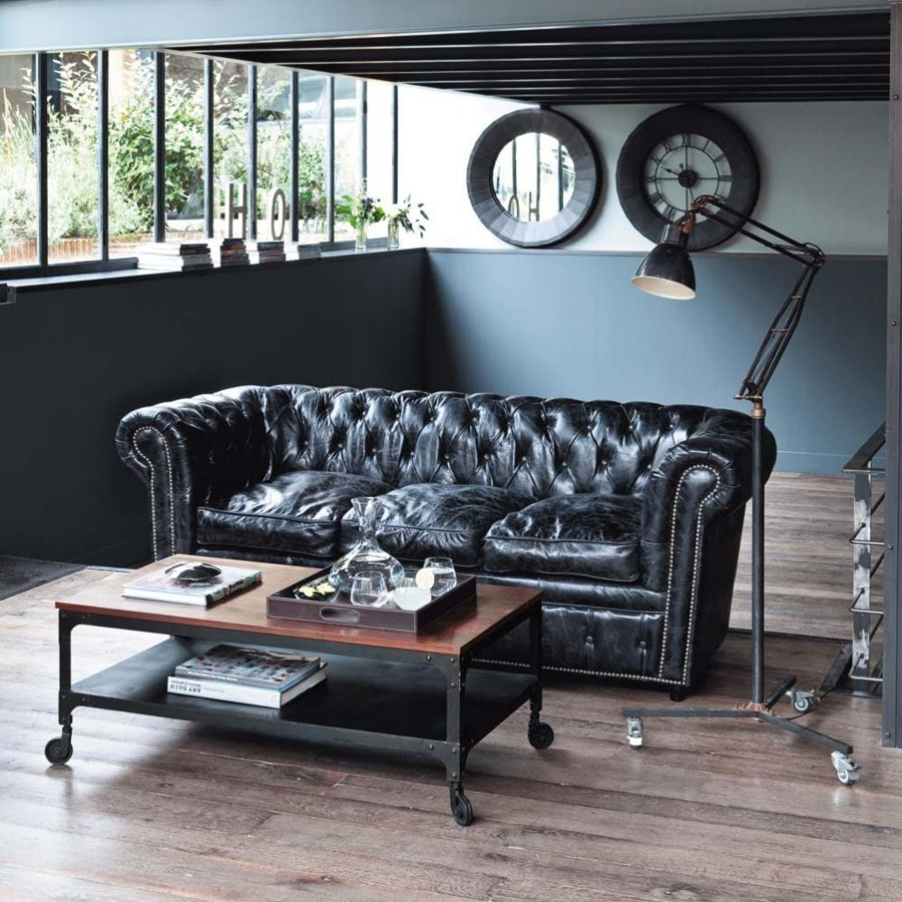 3 seater Chesterfield leather button sofa in black | Maisons du Monde