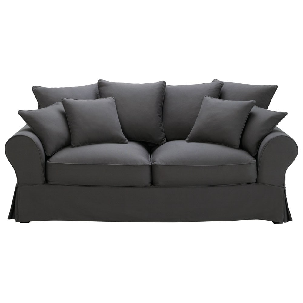 cotton sofa 3 seater cotton sofa in slate grey maisons du monde thesofa. Black Bedroom Furniture Sets. Home Design Ideas