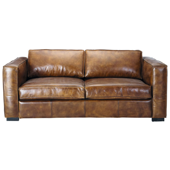 3 Seater Distressed Leather Sofa Bed In Brown Berlin Maisons Du Monde
