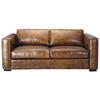 3 seater distressed leather sofa bed in brown - Berlin