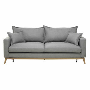 3 Seater Fabric Sofa Bed in Light Grey
