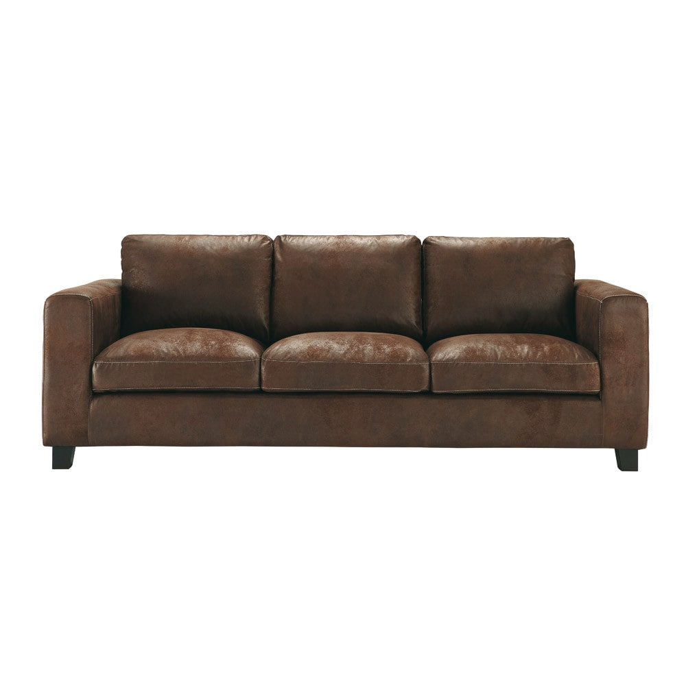 3 seater imitation suede sofa bed in brown
