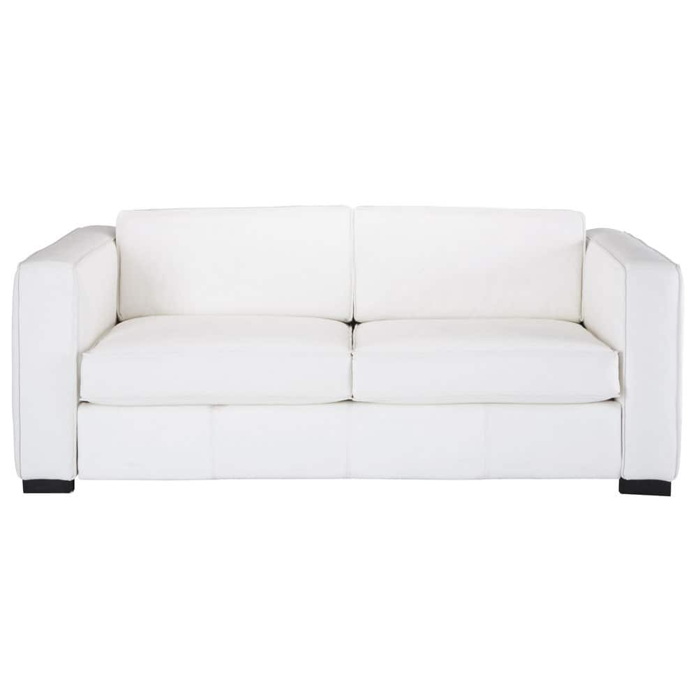 3 seater leather sofa bed in white
