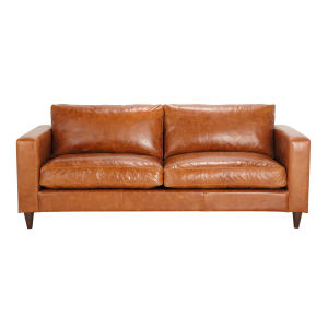 3-Seater Leather Vintage Camel Sofa