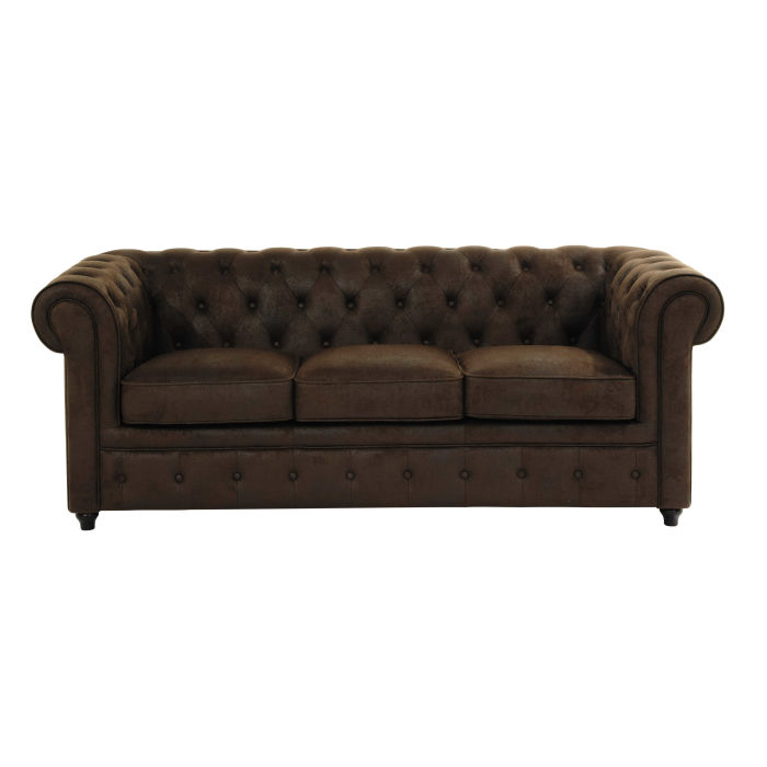 3 Seater Microsuede Button Sofa in Brown Chesterfield | Maisons du