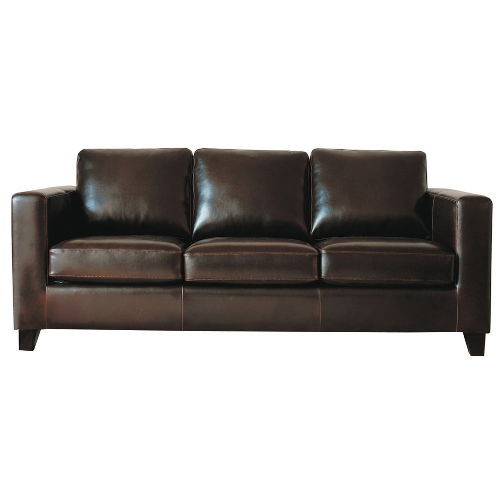 3 seater split leather sofa bed in chocolate