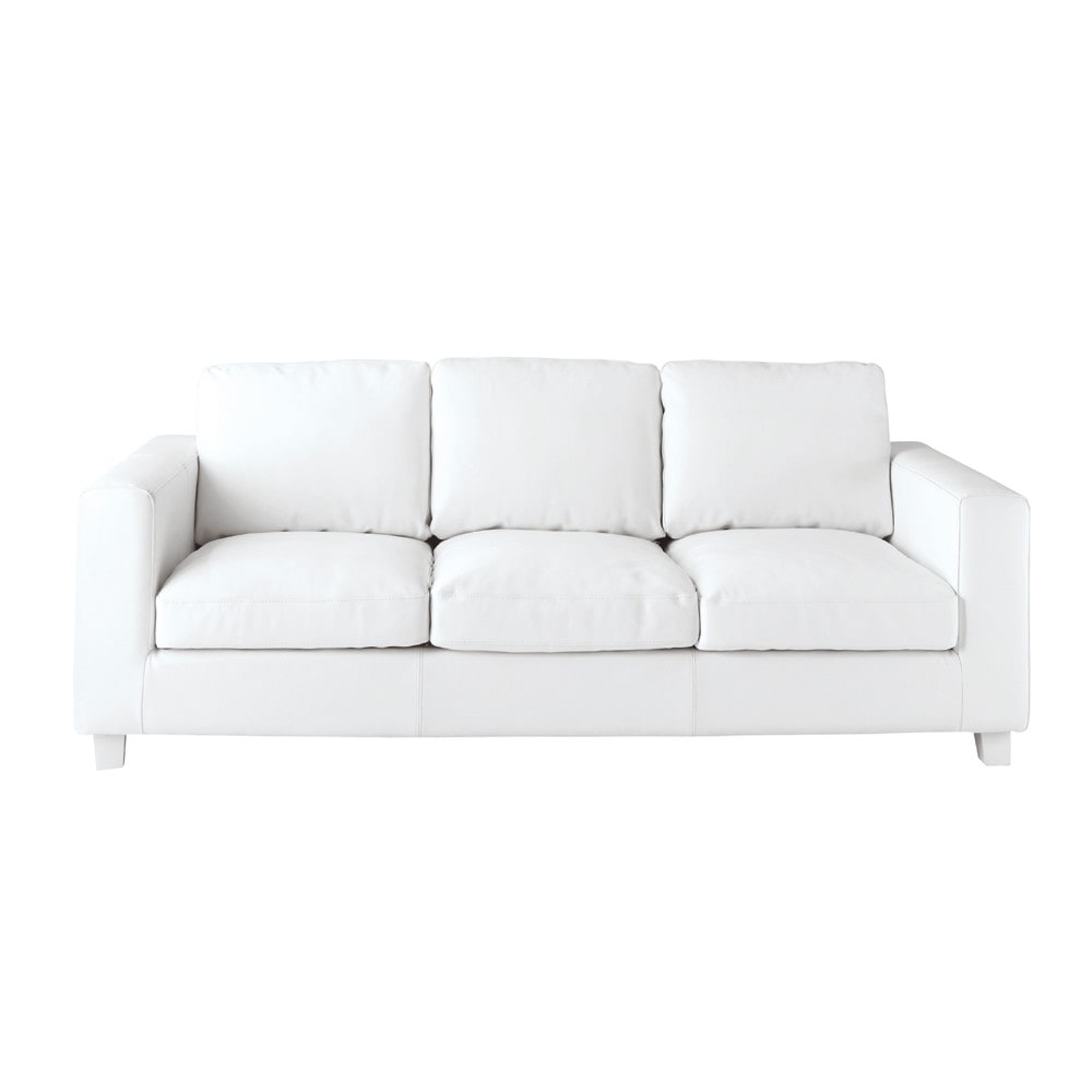 3 seater split leather sofa bed in ivory