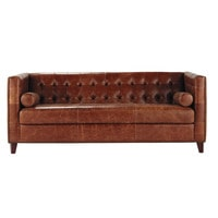 3 seater vintage leather button sofa in brown Garrett