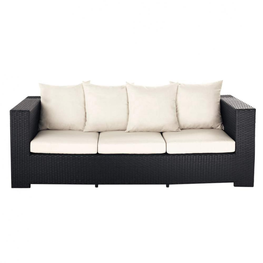 3 seater wicker garden sofa in black